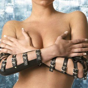 Real Black Leather Arm Guards Buckles G-106XO